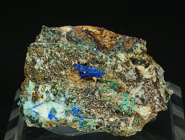 Linarite with Brochantite and Quartz.