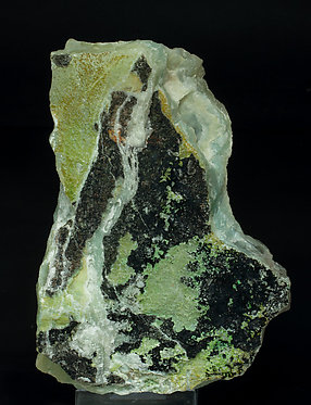 Aurichalcite on Calcite with Aurichalcite inclusions (variety zeiringite).