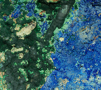 Azurite with Conichalcite and Tyrolite.