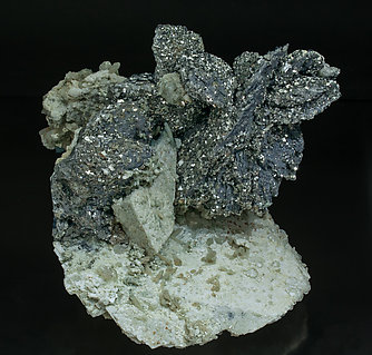 Löllingite with Molybdenite, Calcite, Arsenopyrite, Fluorite and Quartz. Front