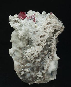 Cinnabar with Quartz and Calcite. Rear