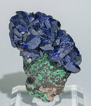 Azurite with Malaquite. Front