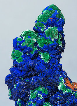Azurite with Malachite and Quartz.