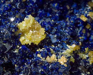 Azurite with Mimetite and Wulfenite.
