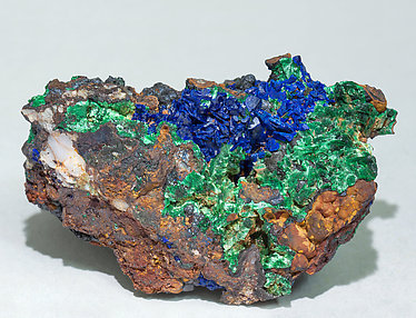 Goethite with Azurite and Malachite. Front